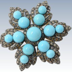 Levian / 32 CT Diamond & Turquoise Brooch Necklace